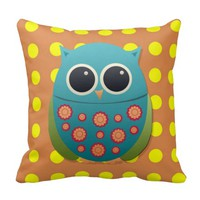 Cute Blue and Green Owl on Yellow Dots