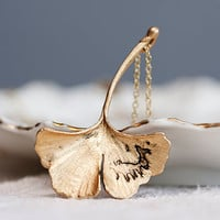 Ginkgo Leaf Necklace Fall Accessories Antiqued by SilentRoses
