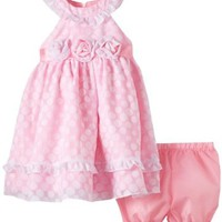 Young Hearts Baby-Girls Infant 2 Piece Polka Dotted Dress Set