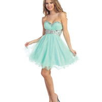 2014 Prom Dresses - Mint Tulle & Beaded Strapless Sweetheart Short Dress