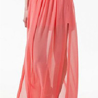 ROMWE Double-layered Split Side Coral Chiffon Maxi Skirt