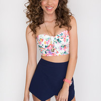 Kelly Floral Bustier - White