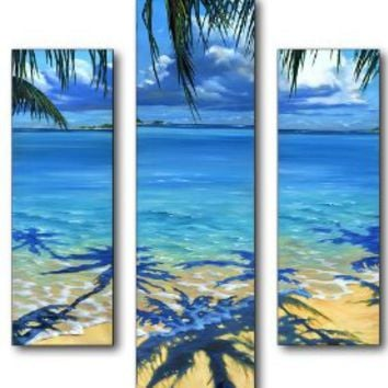 Stupell Home Palm Tree Shadows 17 by 20-Inch Triptych Art