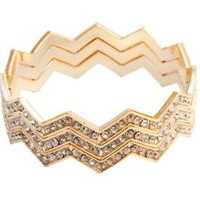 Rhinestone Chevron Stack Bangle Bracelets Set of 3