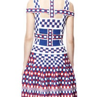 Off-Shoulder Check Harness Dress