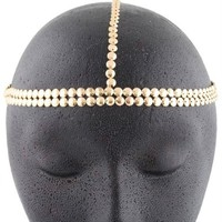 Metallic Gold Circles Double Row Style Head Chain