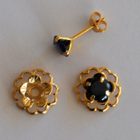 Black Gold Post Earring Set– Includes Black Cubic Zirconia Posts and Gold Flower Style Earring Jacket