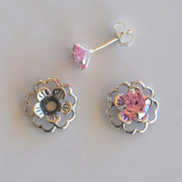 Pink Silver Post Earring Set– Includes Pink Cubic Zirconia Posts and Silver Flower Style Earring Jacket