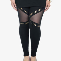 Mesh Inset Studded Leggings