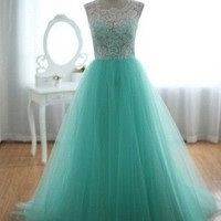 Stock Long Lace Prom Ball Gown Formal Evening Party Dresses Size 6 8 10 12 14 6