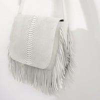 LEATHER MESSENGER BAG WITH FRINGING