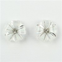 White and silver flower post earrings