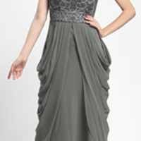 Sue Wong 2014 Dresses - Charcoal Chiffon & Sequin Lotus Gown