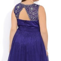 Plus Size Short Prom Dress with Stone Trim Keyhole Back