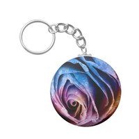 Colorful Acrylic Textured Rose Keychain Keyring