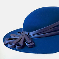 70's Wide Brim Vintage Hat - Chic Navy Blue Hat With Violet Blue Satin Ribbons - Wedding Races Occasion Wear