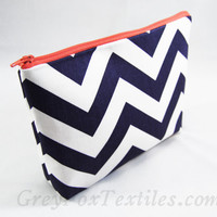 Navy blue chevron with coral accent cosmetic case, makeup bag, zipper pouch, clutch