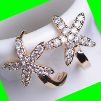 Starfish Rhinestone Mini Hoop Earrings
