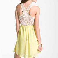 Lush Lace Back Chiffon Dress