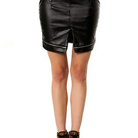 The Lexi Leather Skirt in Black