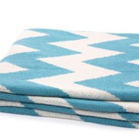 One Kings Lane - Spotlight on...Geometrics - Zigzag Throw, Cerulean