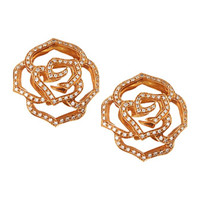 18 Karat Gold Diamond Rose Stud Earrings