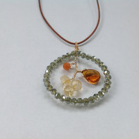 Citrine, Amber Quartz, Peach Aventurine, Green Crystal Glass Blooming Pendant Necklace on Distressed Leather Cord
