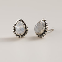 Silver Moonstone Stud  Earrings - World Market