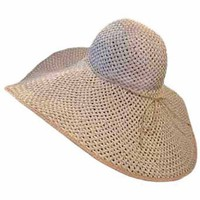 Tan White 8&quot; Wide Large Brim Straw Beach Sun Floppy Hat