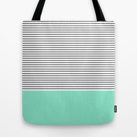 Minimal Mint Stripes Tote Bag by Allyson Johnson