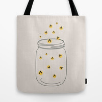 FREELY FLYING FIREFLIES - SOLID BACKGROUND Tote Bag by Allyson Johnson