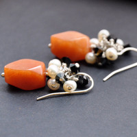 Peach Aventurine Earrings Pearl and Swarovski Crystal Cluster by GueGueCreations