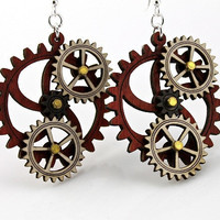 Kinetic Gear Earrings  Hugo by GreenTreeJewelry on Etsy