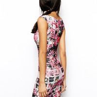 Lipsy Bodycon Dress in Floral Check