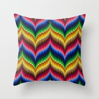 Bargello Impression 1 Throw Pillow by RVJ Designs