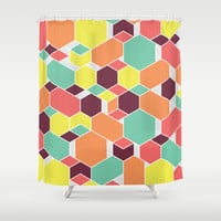 Hex P II Shower Curtain by Leandro Pita