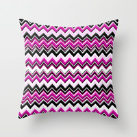 Colorful Pink Magenta Chevron Zig Zag Pattern Throw Pillow by Megan Aroon Duncanson ~ MADART
