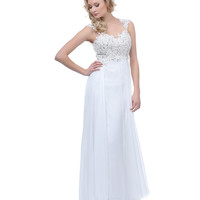 2014 Prom Dresses - Off White Beaded Lace Mesh Cap Sleeve Long Dress