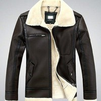 Mens Winter Genuine Leather Coat Real Fur Parka Fleece Jacket Trench Jacket Coat