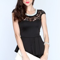 Black Beaded Neckline Peplum Sexy Dress