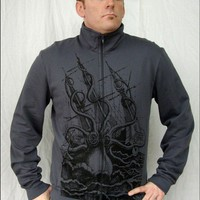 Gray Kraken Zipup Track Jacket by nwshirts on Etsy