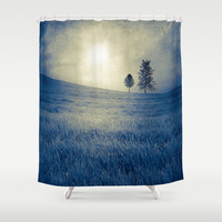 Blue field Shower Curtain by Viviana González