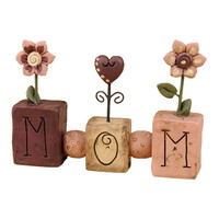 'Mom' Spring Flowers Block Sign