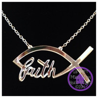 Faith Fish Necklace - Custom Made Laser Cut Acrylic Jewelry - 32 Colors - Christian Fish Jesus Fish Ichthys Symbol