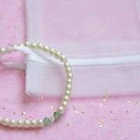 Pearl and Mint Crystal Stretch Bracelet: The Mint Julep.