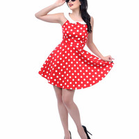 Red & White Polka Dot Collared Fit N Flare Dress