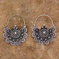 Sterling silver hoop earrings - Glorious Dawn - NOVICA