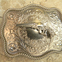 Silver Gun Belt Buckle, Gun Belt Buckle, Pistol Rhinestone Gun Western Engraved Womens Mens Belt Buckle, Rhinestone Gun Custom Belt Buckle