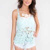 Chloe Embroidered Top - Mint