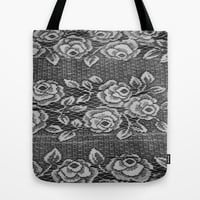 black and white vintage lace  Tote Bag by Sari Klein